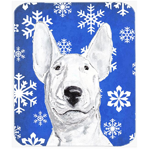 Carolines Treasures SC9604MP 7.75 x 9.25 in. Bull Terrier Blue Snowflake Winter Mouse Pad Hot Pad or Trivet