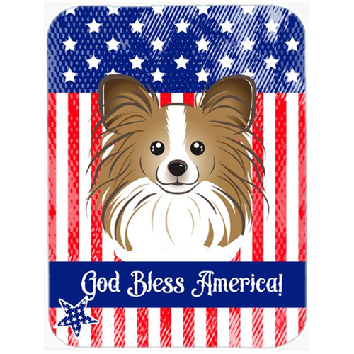Carolines Treasures BB2178MP God Bless American Flag with Papillon Mouse Pad Hot Pad or Trivet