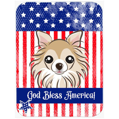 Carolines Treasures BB2181MP God Bless American Flag with Chihuahua Mouse Pad Hot Pad or Trivet