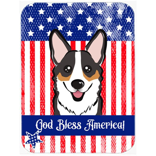Carolines Treasures BB2185MP God Bless American Flag with Tricolor Corgi Mouse Pad Hot Pad or Trivet