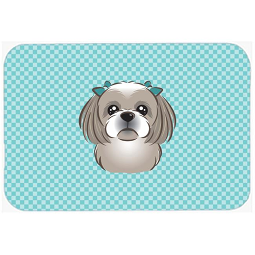 Carolines Treasures BB1188MP Checkerboard Blue Gray Silver Shih Tzu Mouse Pad Hot Pad Or Trivet 7.75 x 9.25 In.