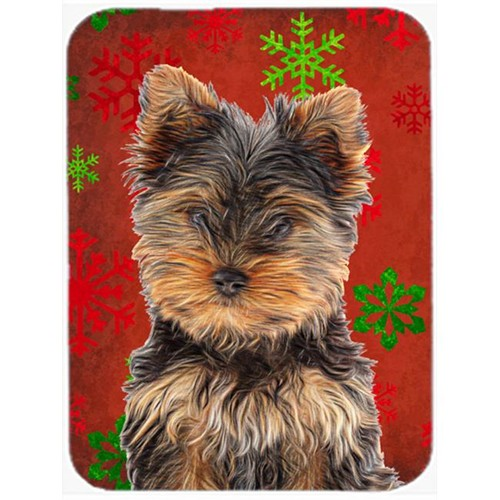 Carolines Treasures KJ1188MP Red Snowflakes Holiday Christmas Yorkie Puppy & Yorkshire Terrier Mouse Pad Hot Pad or Trivet