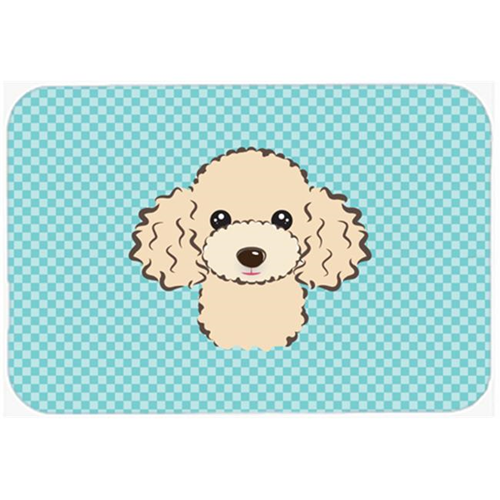 Carolines Treasures BB1196MP Checkerboard Blue Buff Poodle Mouse Pad Hot Pad Or Trivet 7.75 x 9.25 In.