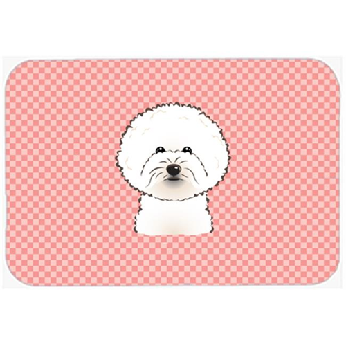 Carolines Treasures BB1217MP Checkerboard Pink Bichon Frise Mouse Pad Hot Pad Or Trivet 7.75 x 9.25 In.