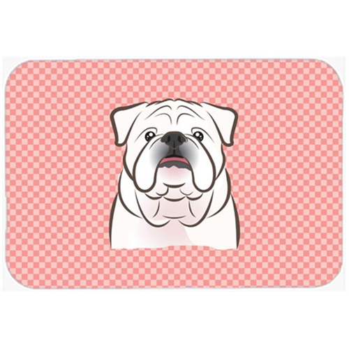 Carolines Treasures BB1220MP Checkerboard Pink White English Bulldog Mouse Pad Hot Pad Or Trivet 7.75 x 9.25 In.