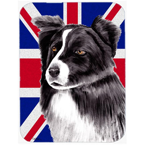 Carolines Treasures SC9824MP 7.75 x 9.25 In. Border Collie With English Union Jack British Flag Mouse Pad Hot Pad Or Trivet