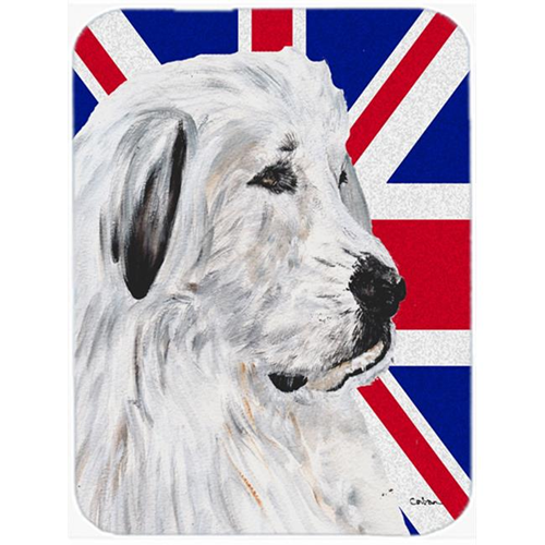 Carolines Treasures SC9873MP 7.75 x 9.25 In. Great Pyrenees With English Union Jack British Flag Mouse Pad Hot Pad Or Trivet