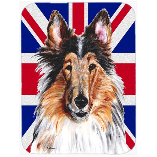 Carolines Treasures SC9893MP 7.75 x 9.25 In. Collie With English Union Jack British Flag Mouse Pad Hot Pad Or Trivet