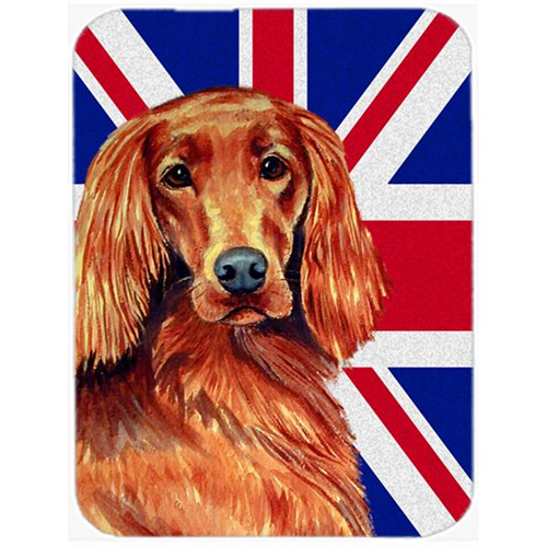 Carolines Treasures LH9504MP 7.75 x 9.25 In. Irish Setter With English Union Jack British Flag Mouse Pad Hot Pad Or Trivet
