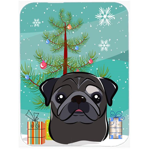 Carolines Treasures BB1635MP Christmas Tree And Black Pug Mouse Pad Hot Pad & Trivet