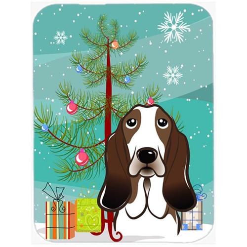 Carolines Treasures BB1615MP Christmas Tree And Basset Hound Mouse Pad Hot Pad & Trivet