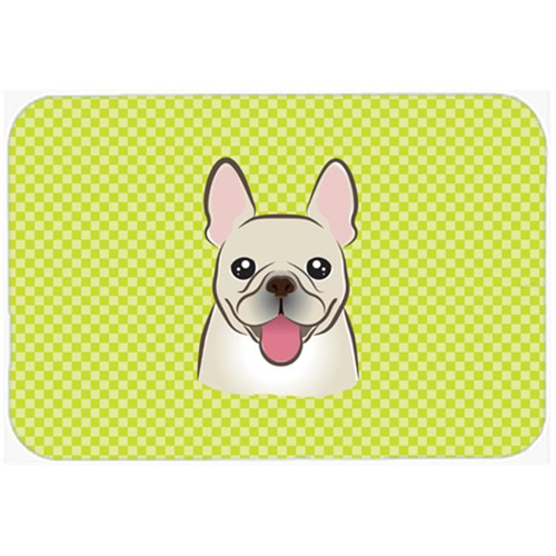 Carolines Treasures BB1300MP Checkerboard Lime Green French Bulldog Mouse Pad Hot Pad Or Trivet 7.75 x 9.25 In.