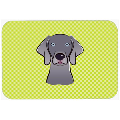 Carolines Treasures BB1293MP Checkerboard Lime Green Weimaraner Mouse Pad Hot Pad Or Trivet 7.75 x 9.25 In.