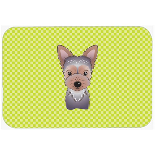 Carolines Treasures BB1294MP Checkerboard Lime Green Yorkie Puppy Mouse Pad Hot Pad Or Trivet 7.75 x 9.25 In.
