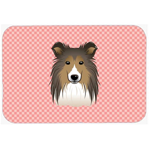Carolines Treasures BB1242MP Checkerboard Pink Sheltie Mouse Pad Hot Pad Or Trivet 7.75 x 9.25 In.