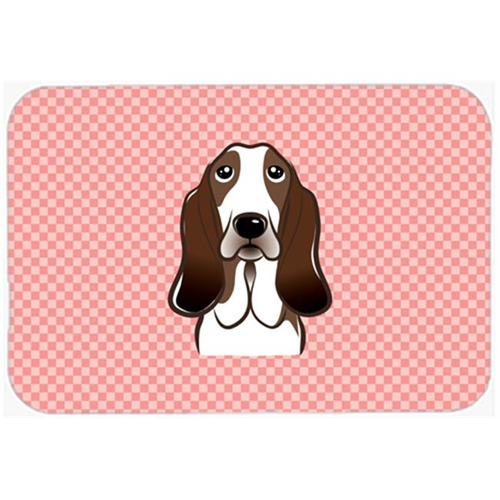 Carolines Treasures BB1243MP Checkerboard Pink Basset Hound Mouse Pad Hot Pad Or Trivet 7.75 x 9.25 In.