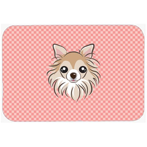 Carolines Treasures BB1251MP Checkerboard Pink Chihuahua Mouse Pad Hot Pad Or Trivet 7.75 x 9.25 In.