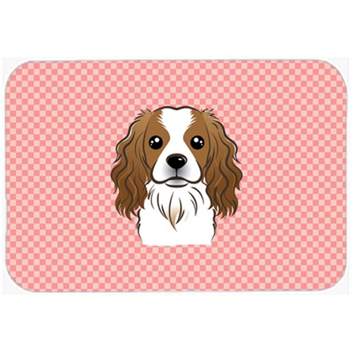 Carolines Treasures BB1224MP Checkerboard Pink Cavalier Spaniel Mouse Pad Hot Pad Or Trivet 7.75 x 9.25 In.