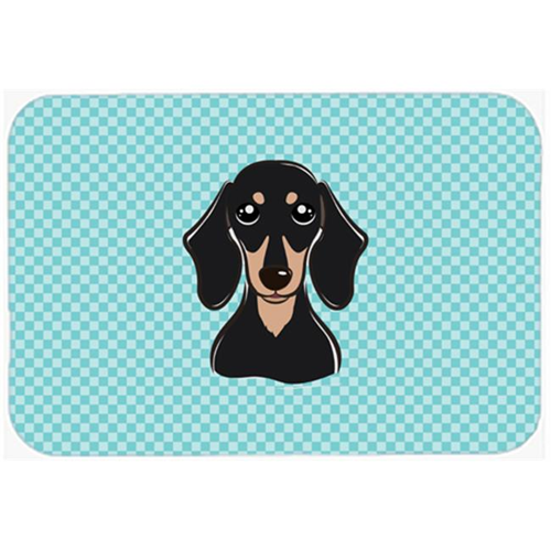 Carolines Treasures BB1153MP Checkerboard Blue Smooth Black And Tan Dachshund Mouse Pad Hot Pad Or Trivet 7.75 x 9.25 In.