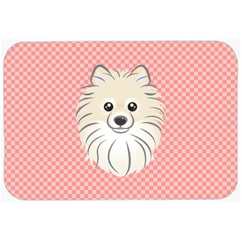 Carolines Treasures BB1207MP Checkerboard Pink Pomeranian Mouse Pad Hot Pad Or Trivet 7.75 x 9.25 In.