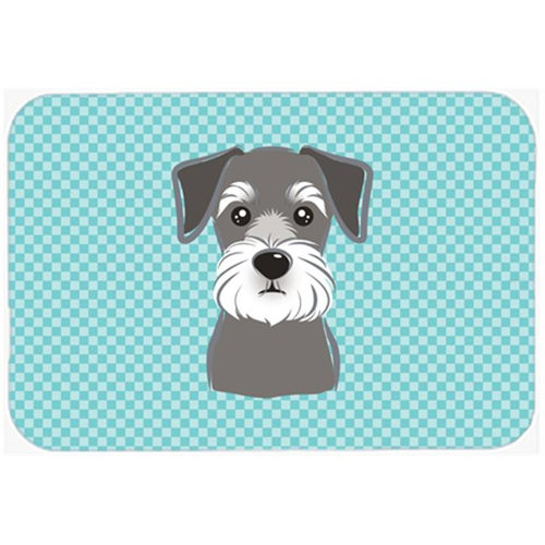 Carolines Treasures BB1144MP Checkerboard Blue Schnauzer Mouse Pad Hot Pad Or Trivet 7.75 x 9.25 In.