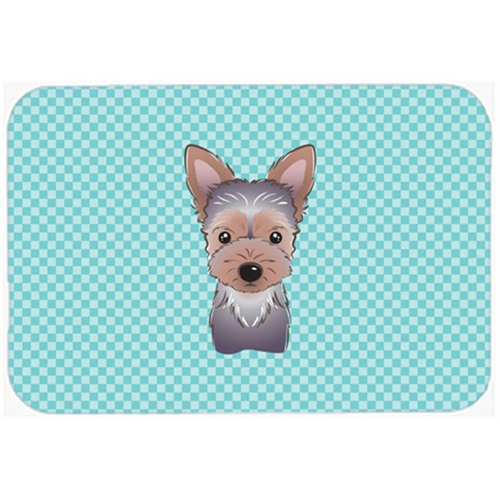 Carolines Treasures BB1170MP Checkerboard Blue Yorkie Puppy Mouse Pad Hot Pad Or Trivet 7.75 x 9.25 In.