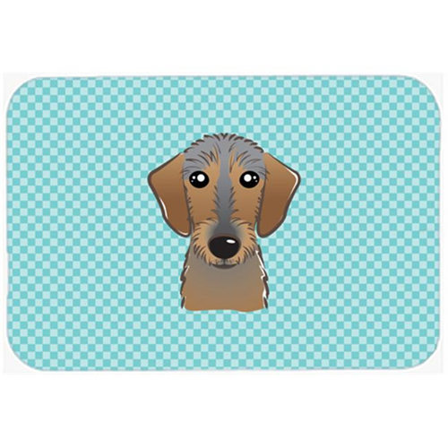 Carolines Treasures BB1171MP Checkerboard Blue Wirehaired Dachshund Mouse Pad Hot Pad Or Trivet 7.75 x 9.25 In.