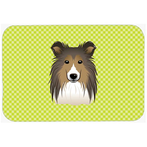 Carolines Treasures BB1304MP Checkerboard Lime Green Sheltie Mouse Pad Hot Pad Or Trivet 7.75 x 9.25 In.