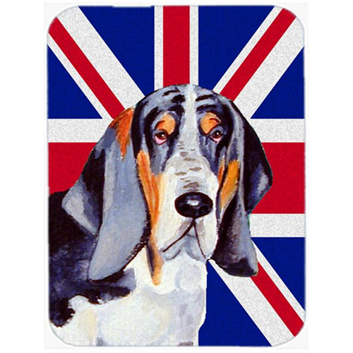 Carolines Treasures LH9479MP 7.75 x 9.25 In. Basset Hound With English Union Jack British Flag Mouse Pad Hot Pad Or Trivet