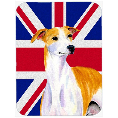 Carolines Treasures LH9480MP 7.75 x 9.25 In. Whippet With English Union Jack British Flag Mouse Pad Hot Pad Or Trivet