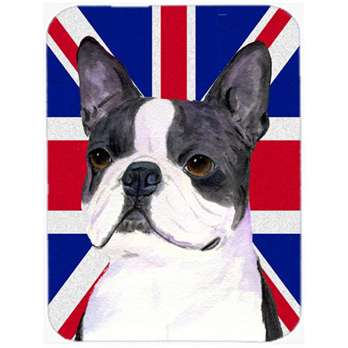 Carolines Treasures SS4958MP 7.75 x 9.25 In. Boston Terrier With English Union Jack British Flag Mouse Pad Hot Pad Or Trivet