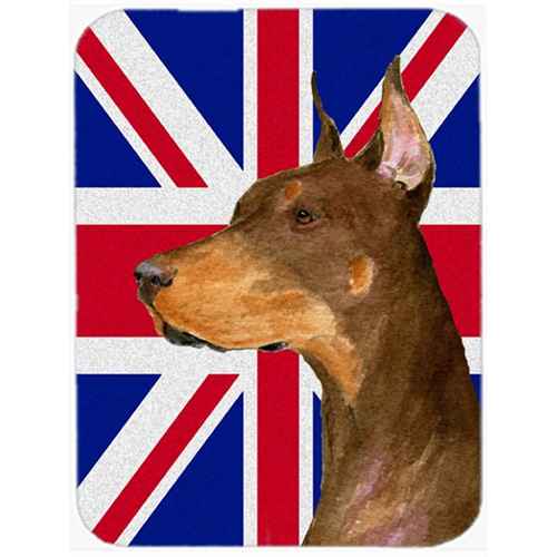 Carolines Treasures SS4910MP 7.75 x 9.25 In. Doberman With English Union Jack British Flag Mouse Pad Hot Pad Or Trivet