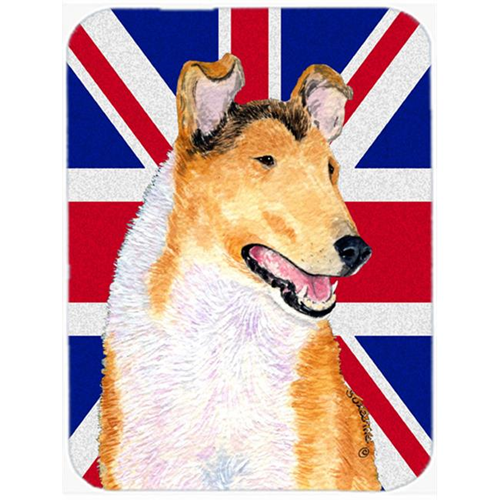 Carolines Treasures SS4912MP 7.75 x 9.25 In. Collie Smooth With English Union Jack British Flag Mouse Pad Hot Pad Or Trivet