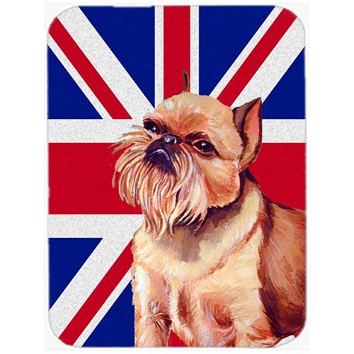 Carolines Treasures LH9466MP 7.75 x 9.25 In. Brussels Griffon With English Union Jack British Flag Mouse Pad Hot Pad Or Trivet