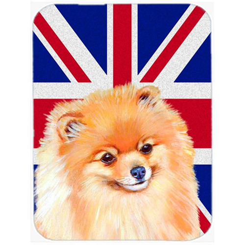 Carolines Treasures LH9498MP 7.75 x 9.25 In. Pomeranian With English Union Jack British Flag Mouse Pad Hot Pad Or Trivet