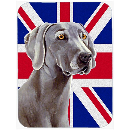 Carolines Treasures LH9493MP 7.75 x 9.25 In. Weimaraner With English Union Jack British Flag Mouse Pad Hot Pad Or Trivet