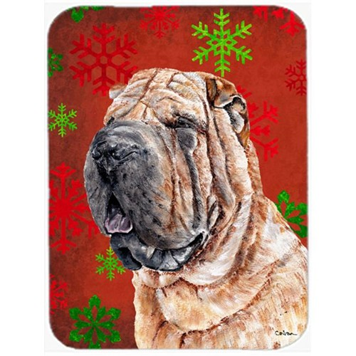 Carolines Treasures SC9743MP Shar Pei Red Snowflakes Holiday Mouse Pad Hot Pad Or Trivet 7.75 x 9.25 In.