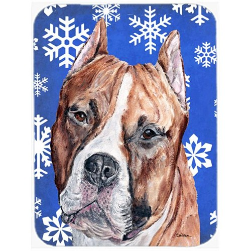 Carolines Treasures SC9776MP Staffordshire Bull Terrier Staffie Winter Snowflakes Mouse Pad Hot Pad Or Trivet 7.75 x 9.25 In.