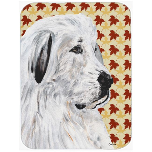 Carolines Treasures SC9690MP Great Pyrenees Fall Leaves Mouse Pad Hot Pad Or Trivet 7.75 x 9.25 In.