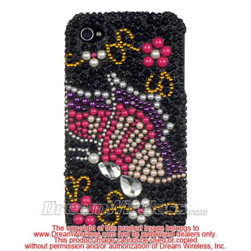 DreamWireless IP-FDIP4BKRBBF iPhone 4S & iPhone 4 Compatible Hd Full Diamond Case - Black Rainbow Butterfly