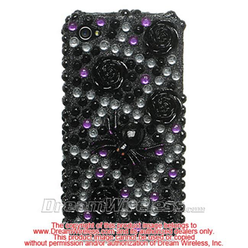 DreamWireless IP-F3DIP4BKFLSD iPhone 4S & iPhone 4 Compatible 3D Full Diamond Case - Black With Flower & Spider
