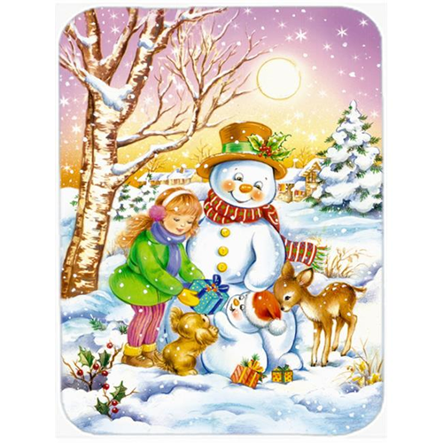Carolines Treasures APH3544MP Girl & Animals with Snowman Mouse Pad Hot Pad or Trivet