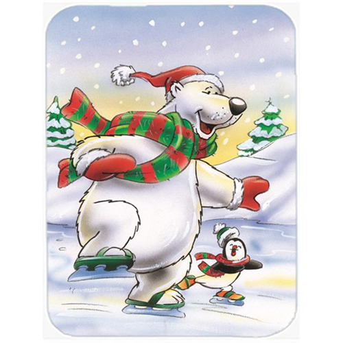 Carolines Treasures AAH7270MP Holiday Polar Bears Ice Skating Mouse Pad Hot Pad or Trivet