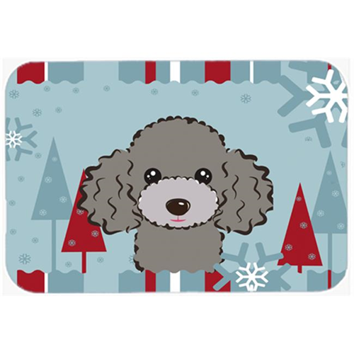 Carolines Treasures BB1755MP Winter Holiday Silver Gray Poodle Mouse Pad Hot Pad & Trivet
