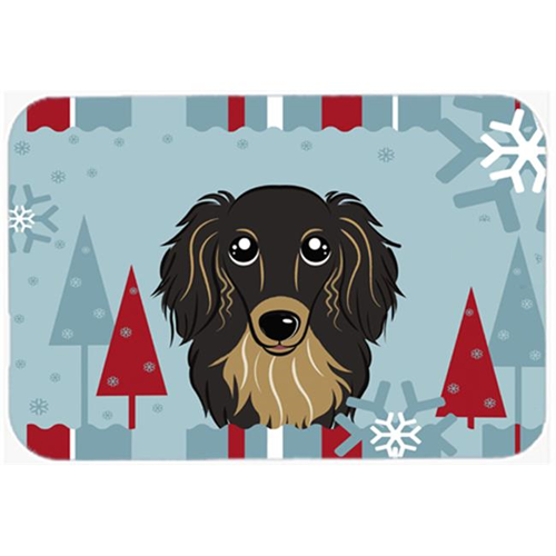 Carolines Treasures BB1709MP Winter Holiday Longhair Black And Tan Dachshund Mouse Pad Hot Pad & Trivet