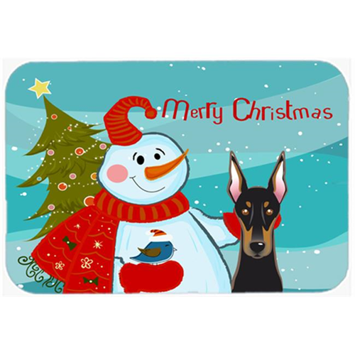 Carolines Treasures BB1865MP Snowman With Doberman Mouse Pad Hot Pad & Trivet