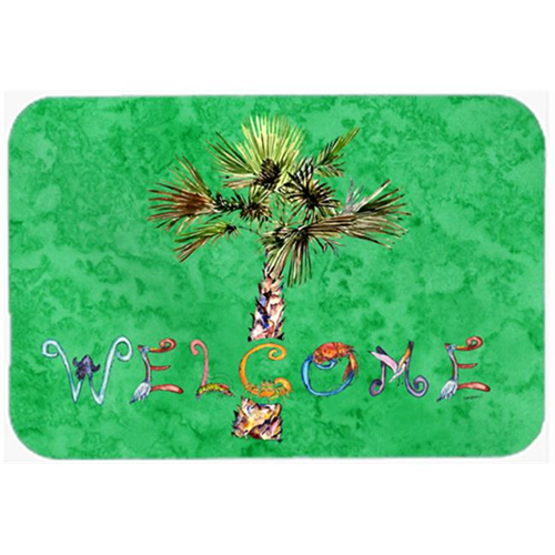 Carolines Treasures 8710MP Welcome Palm Tree On Green Mouse Pad Hot Pad & Trivet
