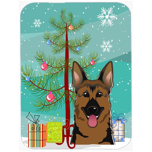 Carolines Treasures BB1583MP Christmas Tree And German Shepherd Mouse Pad Hot Pad & Trivet