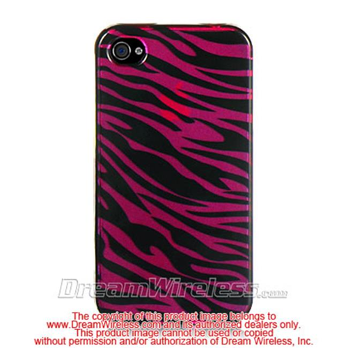 DreamWireless IP-CAIP4PLZ iPhone 4S & iPhone 4 Compatible Crystal Case - Plum Plus Black Zebra