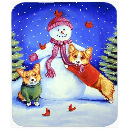 Carolines Treasures 7048MP 9.5 x 8 in. Snowman with Corgi Mouse Pad Hot Pad or Trivet